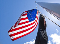 American flag and MIA banner