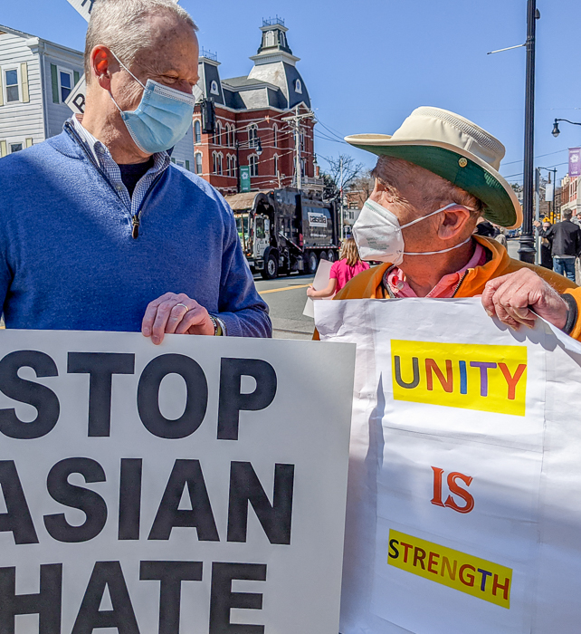 Governor Baker and Jerry Halberstadt join against hatred of Americans of Asian descent in Peabody Square on March 27