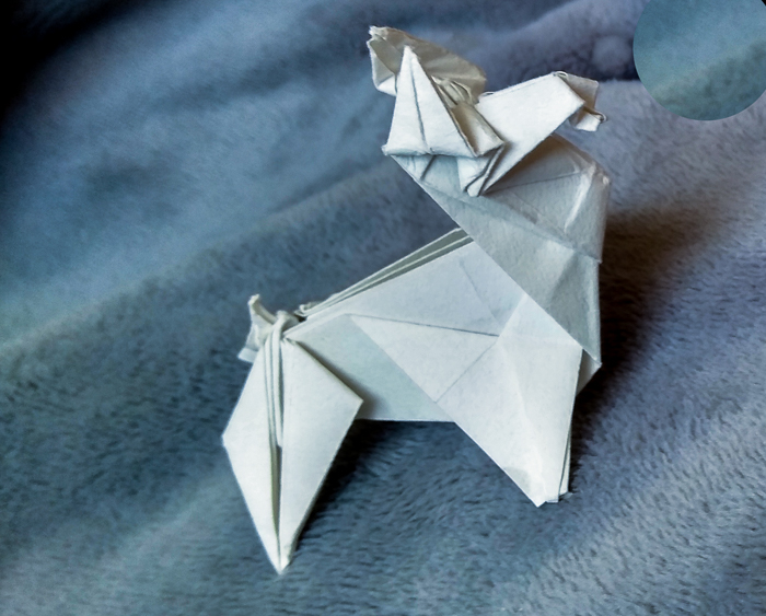 Photo: Bonny Zeh's story begins with her shopping for supplies to make origami like her folded paper dog.